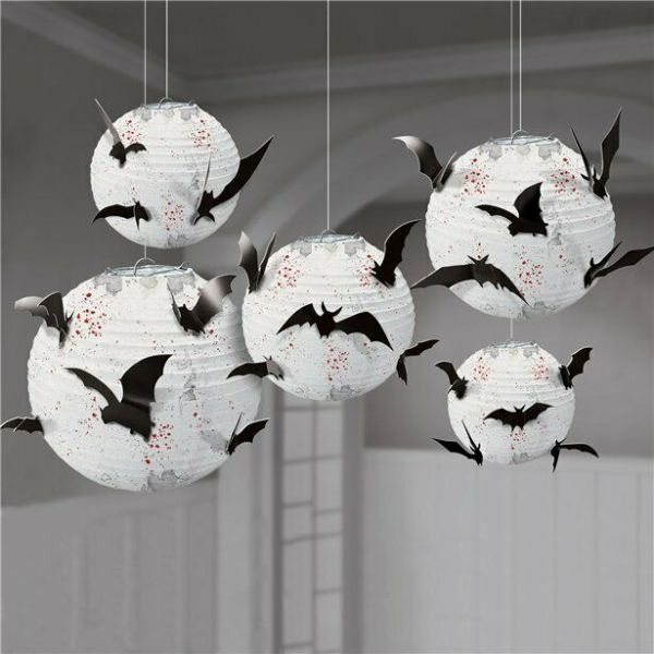 Halloween Paper Lanterns with Bats (5 pk)
